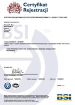 Certyfikat ISO 27001:2005